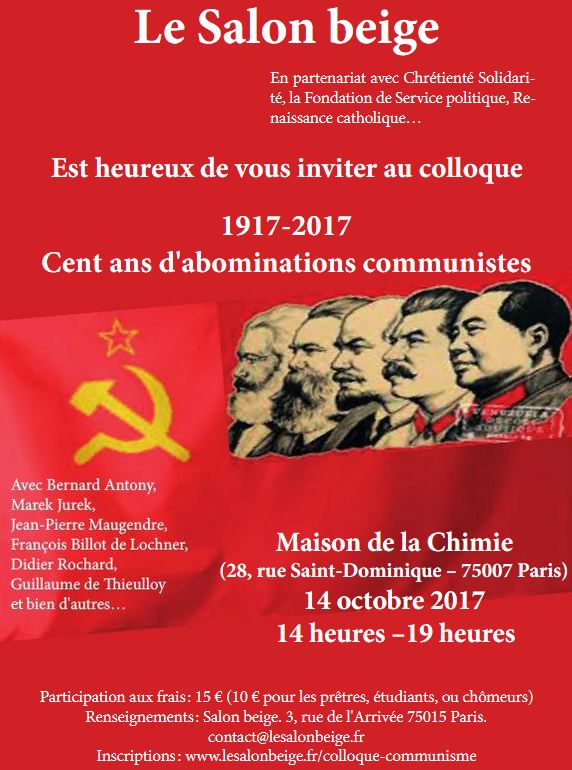 14 octobre 2017, colloque : 1917-2017 100 ans d'abominations communistes